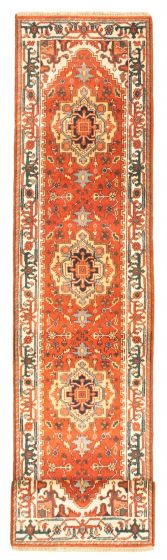 Bordered  Traditional Brown Runner rug 12-ft-runner Indian Hand-knotted 344518