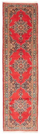 Bordered  Traditional Red Runner rug 13-ft-runner Persian Hand-knotted 358612