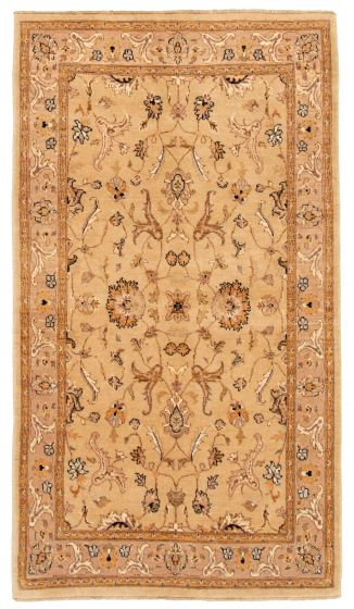 Bordered  Traditional Green Area rug 5x8 Indian Hand-knotted 331618