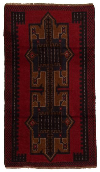 Bordered  Tribal Red Area rug 3x5 Afghan Hand-knotted 357180