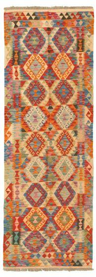 Bordered  Geometric Multi Runner rug 8-ft-runner Turkish Flat-weave 331184