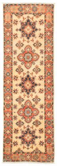 Bordered  Traditional Ivory Runner rug 6-ft-runner Afghan Hand-knotted 331507