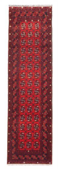 Bordered  Tribal Red Runner rug 10-ft-runner Afghan Hand-knotted 342272