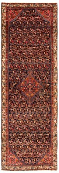 Bordered  Traditional Blue Runner rug 10-ft-runner Persian Hand-knotted 367184