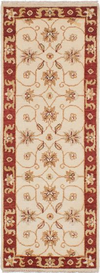 Traditional Ivory Runner rug 6-ft-runner Indian Hand-knotted 223901