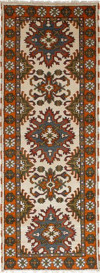 Traditional Ivory Runner rug 8-ft-runner Indian Hand-knotted 233340