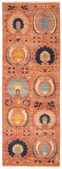 Traditional  Transitional Pink Runner rug 8-ft-runner Pakistani Hand-knotted 342121