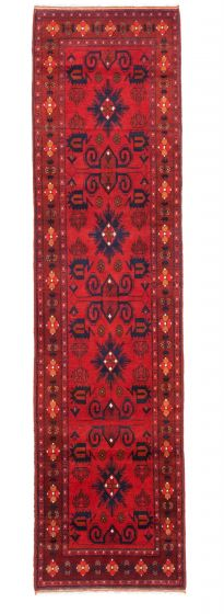 Bordered  Traditional Red Runner rug 10-ft-runner Afghan Hand-knotted 342317