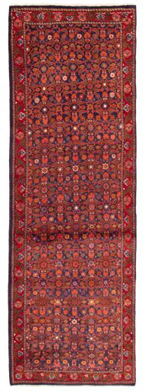 Bordered  Traditional Blue Runner rug 10-ft-runner Persian Hand-knotted 358615