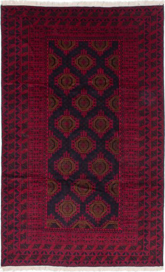 Geometric  Traditional Red Area rug Unique Afghan Hand-knotted 215610