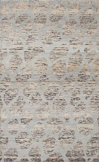 Transitional Grey Area rug 5x8 Indian Hand-knotted 222223