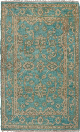 Bohemian  Traditional Green Area rug 5x8 Indian Hand-knotted 271183