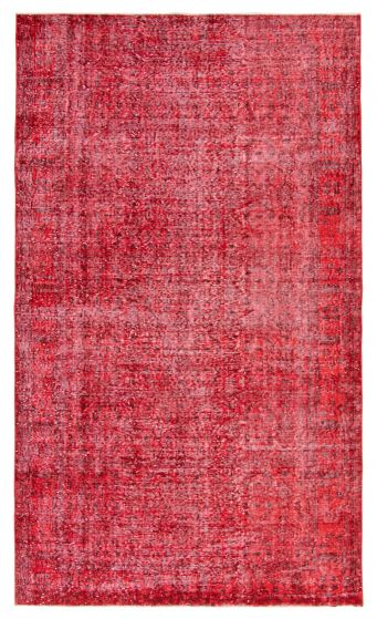 Bordered  Transitional Red Area rug Unique Turkish Hand-knotted 362986