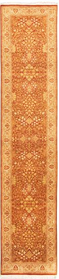 Bordered  Traditional Brown Runner rug 12-ft-runner Pakistani Hand-knotted 330316