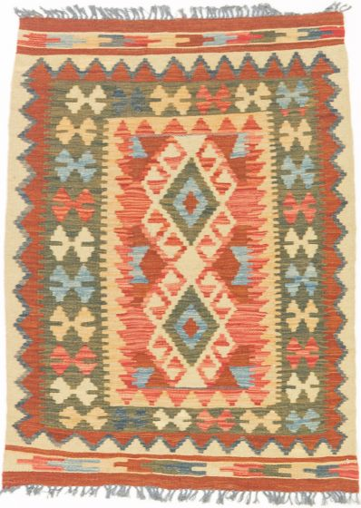 Traditional  Tribal Orange Area rug 3x5 Turkish Flat-weave 195365