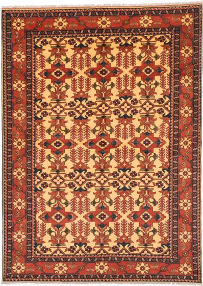 Traditional Yellow Area rug 6x9 Afghan Hand-knotted 203234