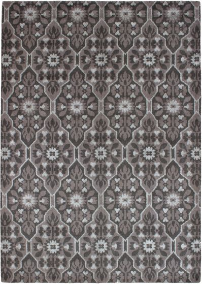 Casual  Contemporary Grey Area rug 5x8 Indian Hand-knotted 271757
