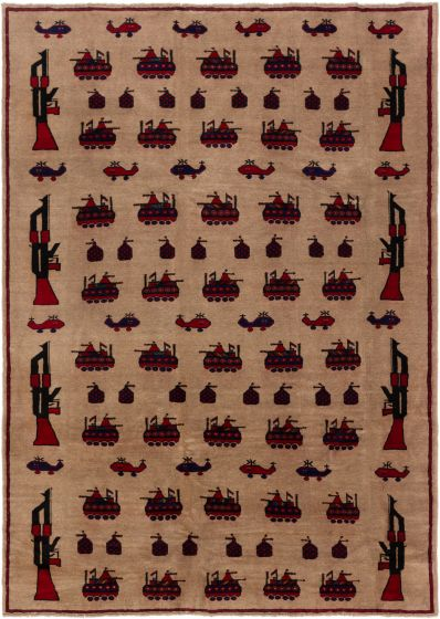 Bordered  Tribal Brown Area rug 6x9 Afghan Hand-knotted 280225