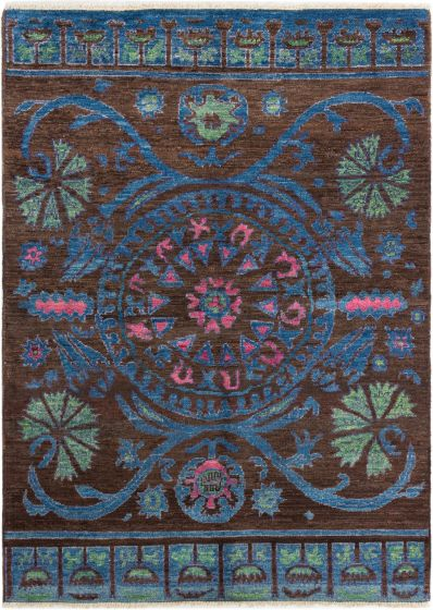 Casual  Transitional Brown Area rug Square Indian Hand-knotted 280630
