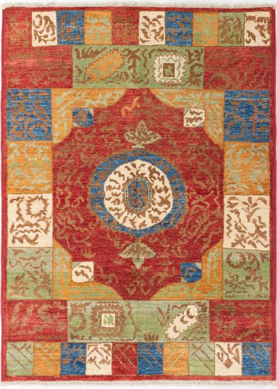 Casual  Transitional Red Area rug 5x8 Indian Hand-knotted 280640
