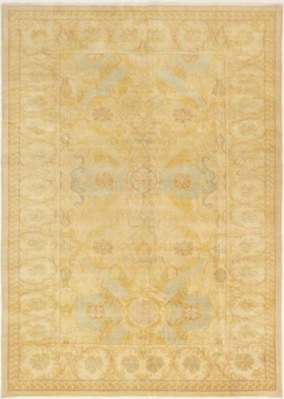 Bordered  Traditional Ivory Area rug 5x8 Turkish Hand-knotted 280762
