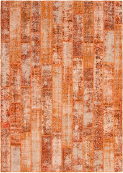 Casual  Transitional Orange Area rug 8x10 Turkish Hand-knotted 296110