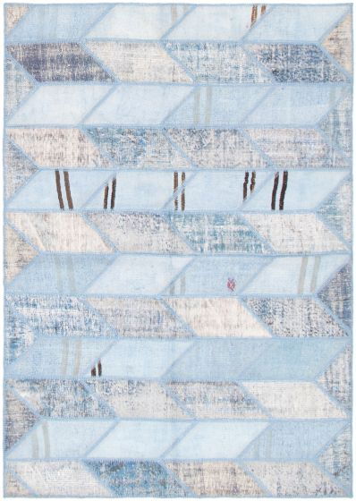 Casual  Transitional Blue Area rug 5x8 Turkish Hand-knotted 296662