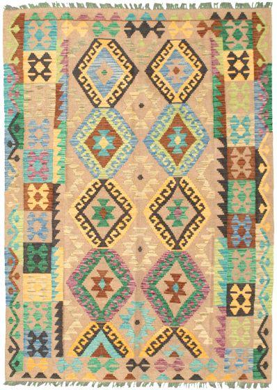 Bordered  Geometric Brown Area rug 4x6 Turkish Flat-weave 330039