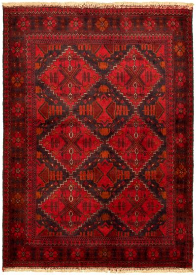 Bordered  Tribal Red Area rug 3x5 Afghan Hand-knotted 330267