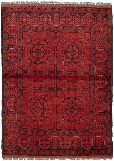 Bordered  Tribal Red Area rug 3x5 Afghan Hand-knotted 330291