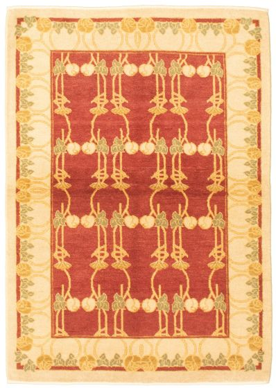 Bordered  Transitional Red Area rug 3x5 Pakistani Hand-knotted 330448