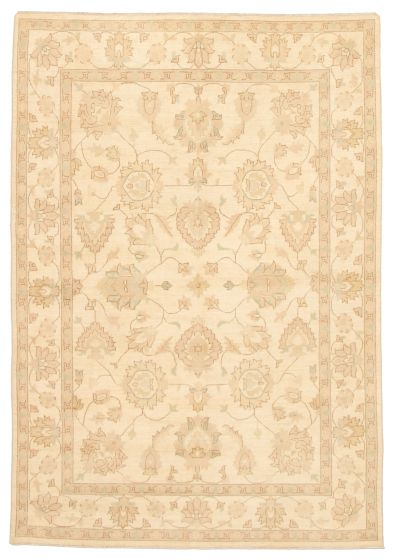 Bordered  Traditional Ivory Area rug 5x8 Afghan Hand-knotted 331477