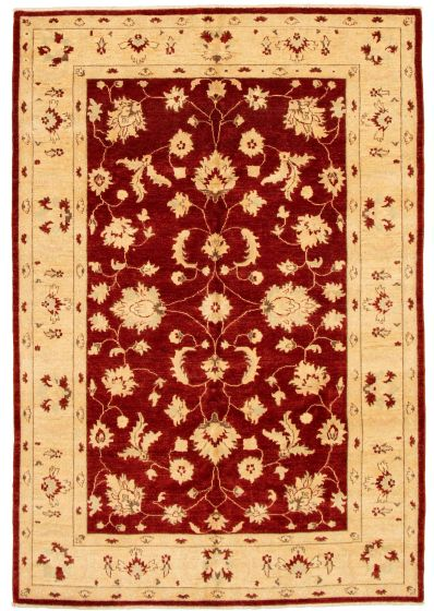 Bordered  Traditional Red Area rug 5x8 Afghan Hand-knotted 331634
