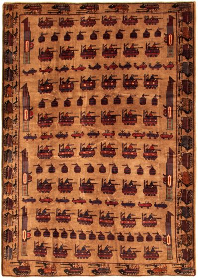 Bordered  Tribal Brown Area rug 6x9 Afghan Hand-knotted 342400