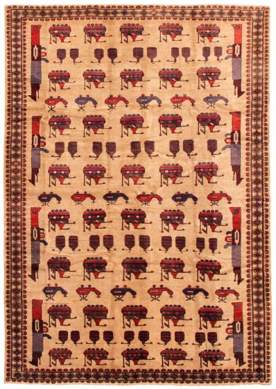 Bordered  Tribal Brown Area rug 6x9 Afghan Hand-knotted 342702