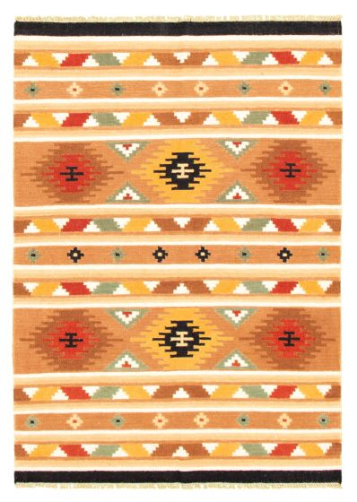 Flat-weaves & Kilims  Traditional Brown Area rug 5x8 Turkish Flat-weave 344440