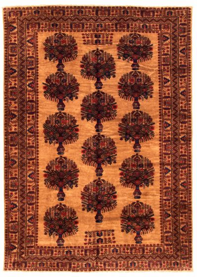 Bordered  Tribal Brown Area rug 6x9 Afghan Hand-knotted 348529