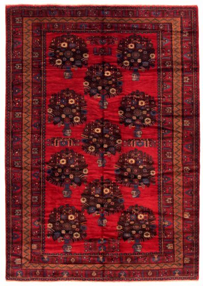 Bordered  Tribal Red Area rug 6x9 Afghan Hand-knotted 348546