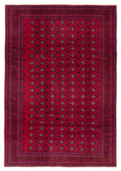 Bordered  Tribal Red Area rug 6x9 Afghan Hand-knotted 358212