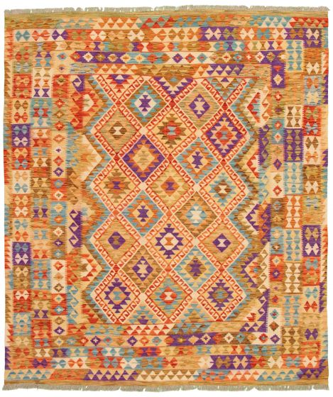 Bohemian  Geometric Ivory Area rug 6x9 Turkish Flat-weave 336762