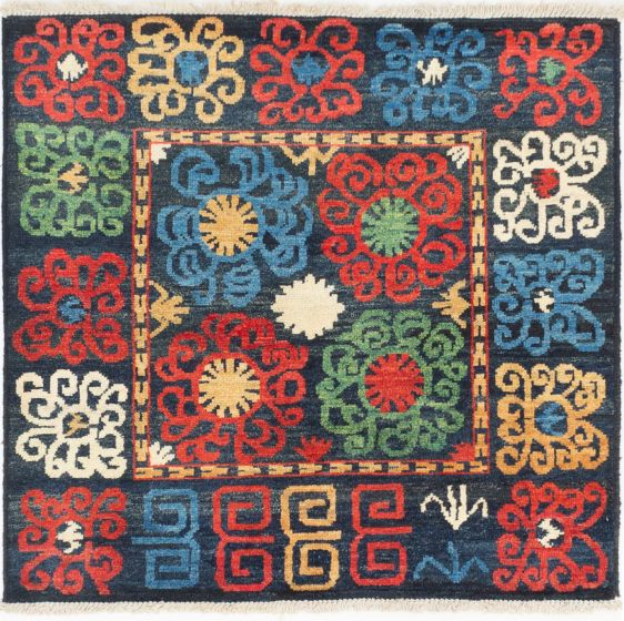 Casual  Transitional Blue Area rug Square Indian Hand-knotted 280587
