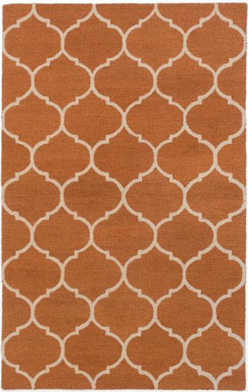 Transitional Orange Area rug 5x8 Indian Hand Tufted 194884