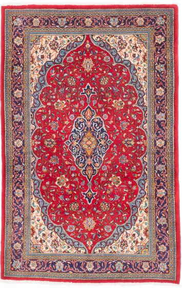 Traditional Red Area rug 4x6 Persian Hand-knotted 203975