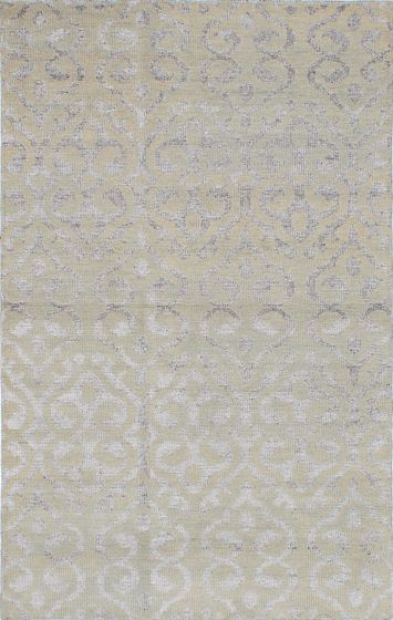 Transitional Green Area rug 5x8 Indian Hand-knotted 221887