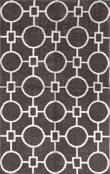 Transitional Brown Area rug 5x8 Indian Hand-knotted 221934