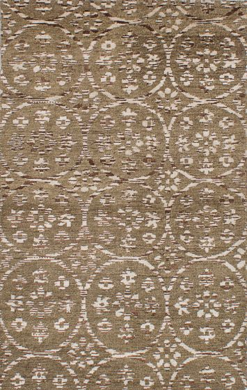 Transitional Green Area rug 5x8 Indian Hand-knotted 221960
