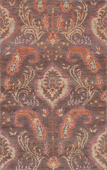 Transitional Brown Area rug 5x8 Indian Hand-knotted 222073