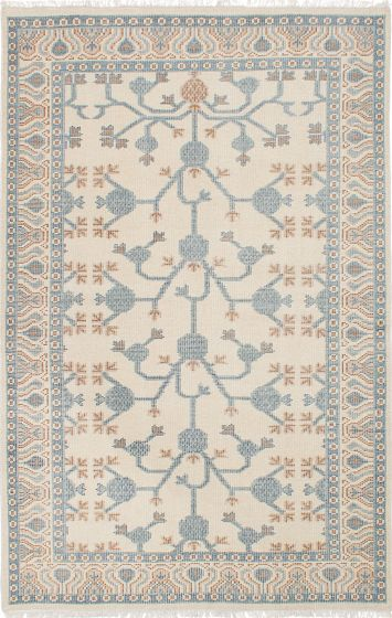 Floral  Traditional Ivory Area rug 5x8 Indian Hand-knotted 222641