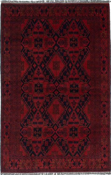 Traditional  Tribal Red Area rug 3x5 Afghan Hand-knotted 235606