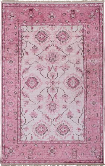 Bordered  Casual Pink Area rug 5x8 Indian Hand-knotted 271591
